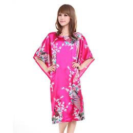 Wholesale chinese dresses plus size women - Wholesale- Hot Sale Chinese Style Silk Robe Dress Women Summer New Bathrobe Gown Vintage Yukata Kaftan Print Sleepwear Plus Size T008