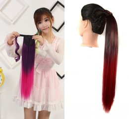 Wholesale Heat Resistant Synthetic Hair Extension - Sara 55cm 22inch Heat Resistant Long Straight Ombre Color Wrap Around Ponytail Hair Extension Pieces 9 Colors Hairpiece Pony Tail