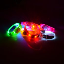 Wholesale Silicone Bracelets Led - Voice Activated Sound Control Led Flashing Silicone Bracelet Wristband vibration control Arm Band For Party Halloween Concert Decoration