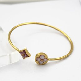Wholesale Jewelry Paint Gold - Fashion 18K Gold Plated Clover Bracelet Bangle For Women Simple Brand Design Paint Charm Cuff Bracelet Jewelry Party Free Drop Shipping