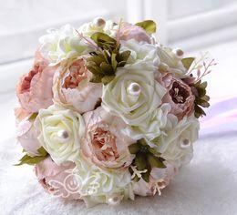 Wholesale Bridesmaids Silk Flowers - Chocolate Pink Peony Artificial Bridal Flower Wedding Bouquet Flowers Bridal Brooch Bouquet buque de noiva Bridesmaid Flower Bouquet