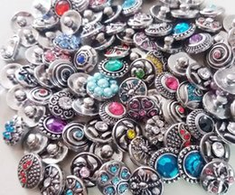 Wholesale Metal Slide Charms - 100pcs lot 12mm wholesale newest copper mini noosa chunk metal alloy snap buttons for leather bracelet mix designs
