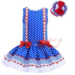Wholesale Blue Polka Dots Tutu Dress - Pettigirl Top Grade Hand Made Stripe Kids Clothes Polka Dot Sleeveless Dress For Girls With Bow Delicate Boutique Baby Wear GD-DMGD905-771