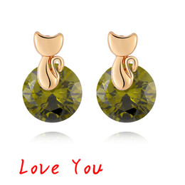 2017 fille chat vintage Fashion Round Cubic Zircon Stud Earrings Boucles d'oreilles en or plaqué or 18 carats pour fille / femme Bijoux animaux mignons fille chat vintage ventes