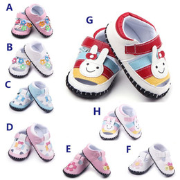 Wholesale Cartoon Boy Girl Hard - New Arrival 8 Designs Cartoon Prints TPR Hard sole Baby Sandals Infant Walking Shoes for Girl and Boy Soft Leather Upper