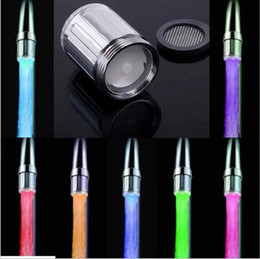 Wholesale Glow Head - 7 Color RGB Colorful LED Light Water Glow Faucet Tap Head Home Bathroom Decoration Stainless Steel Water Tap YYA830