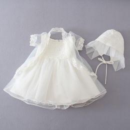 Wholesale Taffeta Coat Dress - 2016 Sumemr Baby Dress Party Dress Lace Flower Beige Baptism Dress Princess Tutu Dress+coat+Cap 3-12M Baby Girl Wedding party dress