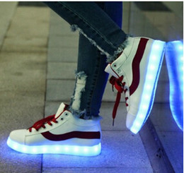 Wholesale Top Dance Sneakers - New Arrival Top Quality KTV Evening Show Dance Shoes Loves USB Charging Glowing Casual Shoes Men Women 7 Colors LED Glowing Sneakers