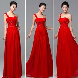 Wholesale Red One Shoulder Bridesmaid Dresses - One Shoulder Crystal In Stock Bridesmaid Dresses 2016 Red Handmade flowers Chiffon Maix Evening Prom Dress