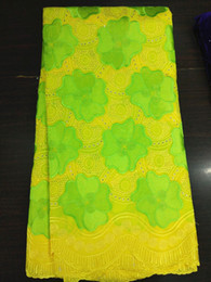 Wholesale Swiss Lace Yard - 5 Yards lot Top sale yellow african mesh lace and green flower embroidery swiss voile cotton lace fabric for party dress BC127-4