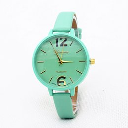 Wholesale Watches Candy Color - Fashion Women geneva leather watch casual thin bands watches candy color bracelet watch ladies quartz dress simple wrist watches for women