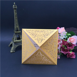Wholesale Wedding Anniversary Invitation Cards - 2018 Square Beige Laser Cut Lace Flower Invitations Cards for Engagement Wedding Birthday Graduation Anniversary Shipping By UPS