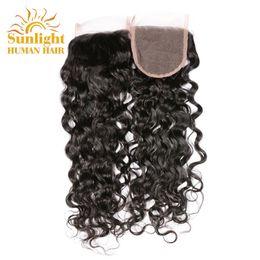 Wholesale ocean three - Brazilian Virgin Hair Water Wave Lace Closure Wet And Wavy Human Hair Virgin Brazilian Hair Water Wave Closure Natural Brazilian Ocean Wave