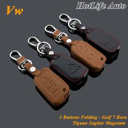 Wholesale Volkswagen Keychain Leather - 100% Genuine Leather Car Key Fob Case Cover Keychain for Volkswagen Vw Golf 7 Bora Tiguan Sagitar Magotan Car Key Ring Chain