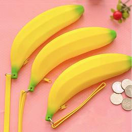 Wholesale Wholesale Bags Old Keys - Wholesale-New Novelty Yellow Banana Silicone Pencil Case Stationery Storage Bag dual Coin Purse Key Wallet Promotional Gift Stationery