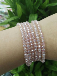 Wholesale Crystal Beaded Necklaces - 4mm Crystal Fine Beads Long Elastic Necklace Cutting Facets Glass Beads Stretched Necklace Bracelet Plain Jewelry