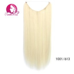 Wholesale Hair Clip Loop - Wholesale-Blond mixed 2 pieces lot 80g piece 22inch 55cm wire loop long straight synthetic hair extension no clips