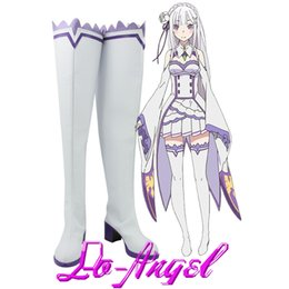 botas cosplay personalizadas Desconto Atacado-Anime Re: Vida em um Mundo Diferente de Zero Emilia Cosplay Halloween Party Shoes Botas Altas Custom Made