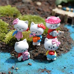 5 disegni mini gatti cartoon animali fata giardino miniature mini gnomi moss terrari in resina artigianato figurine per fai da te decorazione del giardino da mini figurine animali fornitori
