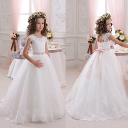 Wholesale Dress Beautiful Wedding Gowns - Beautiful Lace Backless Flower Girls Dresses For Weddings Scoop Sleeveless First Communion Dress Floor Length Princess Gowns With Sash