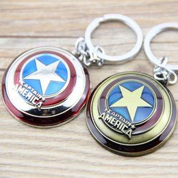 Wholesale Cheap Antique Gifts - Wholesale Wholesale Super Hero The Avengers Captain America Shield Metal Keychain Pendant Key Chain Chaveiro Gift For Men Boys Cheap