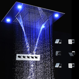 Wholesale Remote Mixer - LED Light remote control 600*800mm shower head set body shower system,bathroom spa rain shower thermostatic mixer set