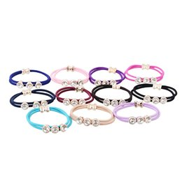 Wholesale Gift Satin Ribbon - 10 Colors Satin Ribbon Elastic Hair Bands Tie Rope Scrunchie Ponytail Holder Rubber Band Hair Accessory For Women Girl 10Pcs[JH01087*10]
