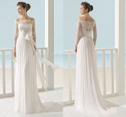 Wholesale Empire Waist Sheath Floor Length - Beach Bateau Long Sleeve Wedding Dresses 2017 Vintage Sheer Lace Sheath Chiffon Custom Made Floor Length Empire Waist Bridal Gowns