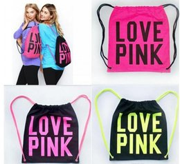 Wholesale Styling Organizer - Drawstring Cosmetic Bags Women Victoria Pink Backpack LOVE PINK School Bag Letter Makeup Storage Bags Canvas VS Organizer Shopping Bags