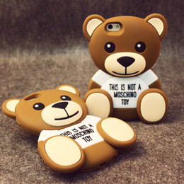Wholesale Teddy Bear Soft Case - Cute 3D Cartoon Teddy Bear Soft Silicone Phone Case Back Cover for iPhone 5 5S 6 6 Plus 6S Plus Free Shipping