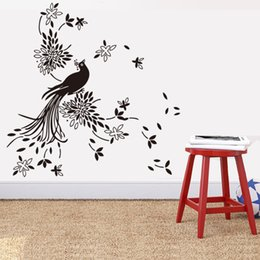 Wholesale Peacock Wallpaper Sticker - Free shipping high quality Fashion DIY Peacock Removable Waterproof Wall Decorative Sticker for Living Room Background