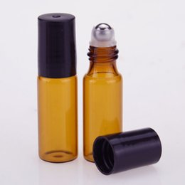 Wholesale Deodorant Containers - Hot Selling 300pcs 5ML Amber Roll On Roller Bottle for Essential Oils Refillable Perfume Bottle Deodorant Containers With Black Roller Cap
