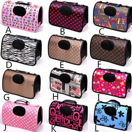 Wholesale Dog Carrier Tote Bags - Fashion Pet Dog Cat Easy Foldable Carrier Bag Five Patterns Hard Breathable Travel Bags Pet Dog Cat Outdoor Bag