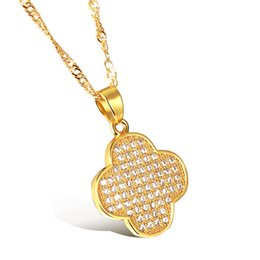 clover resin Promo Codes - Micro Pave zircon Clover diamond pendant necklace birthday gift 18K gold plated with chain-containing KX631