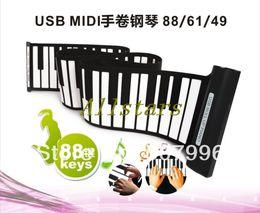 Wholesale Soft Roll Up Keyboard Piano - Wholesale-Hot Sale Portable USB MIDI Roll-up 88 Standard Keys Flexible Soft Keyboard Piano D-1295