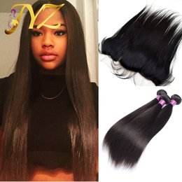 Wholesale Silk Lace Frontal Virgin - Brazilian Straight Lace Frontal Closure 3pcs With Bundles Cheap Human Hair With Closure Piece Peruvian Silk Straight With Lace Frontal