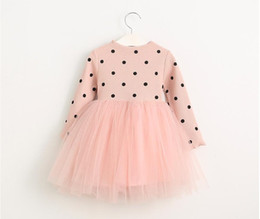 Wholesale New Fall Dresses Kids - 2016 New Autumn Girls Knitted Tutu Dress Kids Polka Dots Fall Winter Long Sleeve Sweater Dresses Children Tulle Stitching Dress Black&Pink