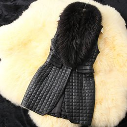 Wholesale Leather Gilet Fur Collar - 2018 Spring Black Leather Long Gilet With Big Fur Collar Elegant Ladies Plaid Casual Vest Coat Slim-Fit Sleeveless Suit Jackets CJD1005