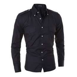 Wholesale Tee Shirt Collar Design - 2016 New fashion insignia design double pocket men's casual long-sleeved shirt Slim Fit brand solid color shirts man tees tops US size XS-L