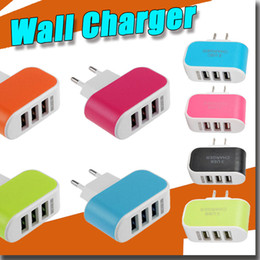 Wholesale Colorful Uk Plug Usb Charger - 2016 3 usb plug EU US Plug USB Power Adapter Colorful Wall home Travel Charger power For Samsung iPhone HTC