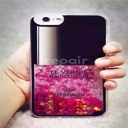 Wholesale Nail Polish Case Cover - DHL Fashion Nail Polish Liquid Glitter Stars Phone Cases Hard PC Back Cover for iPhone 6 6s 6plus 6sPlus
