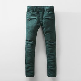 Wholesale Stylish Stretch Pants - Wholesale-NWT Paris BP Men's Runway Stylish Fashion Stretch Mohair Fleece Runway Biker Green Denim Jeans Skinny Pencil Pants Size 28-38