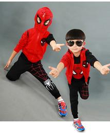 Wholesale Costum Hot - Hot Boys Halloween costume Spider Man Clothes 3pcs Sets Hoodie+Pants Kids Children Autumn Cotton Spiderman Suit Baby Wear Performance costum