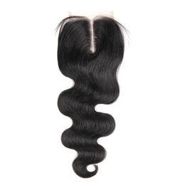 Wholesale Medium Top Hair Piece - Top Silky Body Wave Closure Cheap 4x4 Free Middle Three Way Parting Swiss Lace Closure Piece Unprocessed Brazilian Remy Human Hair Natural