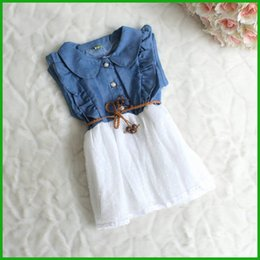Wholesale Denim Down - 2016 children girls vestidos Baby Girls Child Princess Party Dress Clothes Kid Summer Denim Jeans Dress fashion casual style free shipping