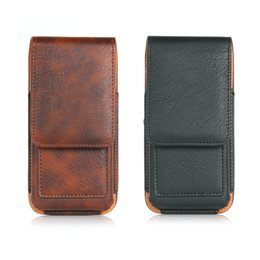 Wholesale Holsters For Cellphones - Leather Wallet Case Universal CellPhone Bag Outdoor Sport Phone Pouch Hook Loop Belt Holster For Smart Phone Between 4.7-6.3 inch
