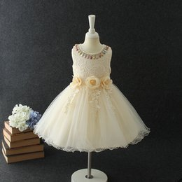 Wholesale Trailing Flowers - Children Trailing dresses Girl embroidery lace stereo flowers sashes dress Kids colorful beading tulle vest dress Girls princess dress C2284
