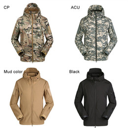 Wholesale Orange Fleece Jacket Wholesale - Men's Lurker Shark Skin Outdoor Military Tactical Riding Hiking Jacket New Windproof Sports Camouflage Clothes 2511002