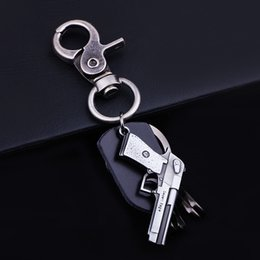 Wholesale Real Guns - Foreign selling in Europe and America retro fashion upscale men's keychain car keychain black real leather gun accessories