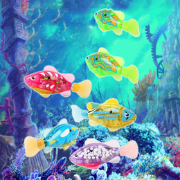 Wholesale Fish Birthday - LED Light up 8 Colors Turbot Robo Fish Kids Silver Bath Toys Electronic Pets Robotic Fish Birthday Gifts